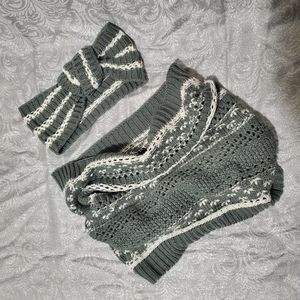 Knit Infinity Cowl Scarf Face Covering & Headband